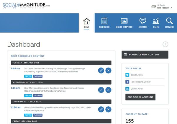 Social Media Control Panel Dashboard