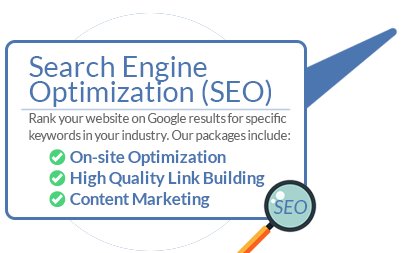 Search Engine Optimization (SEO) Rank your website on Google results for specific keywords in your industry. Our packages include: