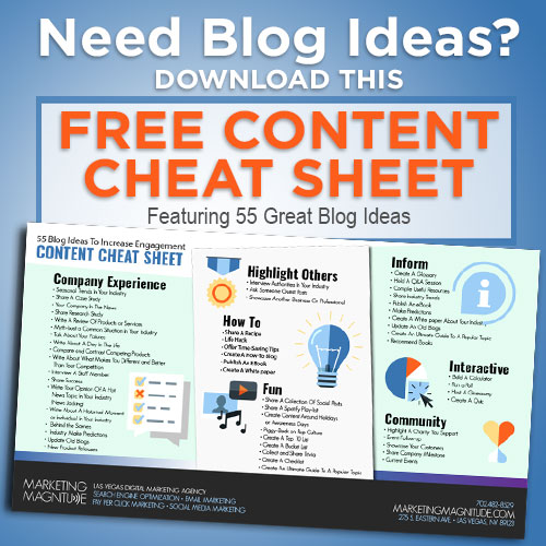 Need blog ideas? Download this free content cheat sheet featuring 55 great blog ideas