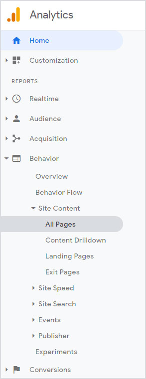 Navigation to Site Content in Google Analytics