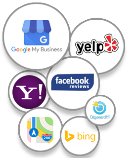 Local Listing Providers, Google My Business, Yelp, Yahoo, Facebook, Apple Maps, CitySearch and Bing